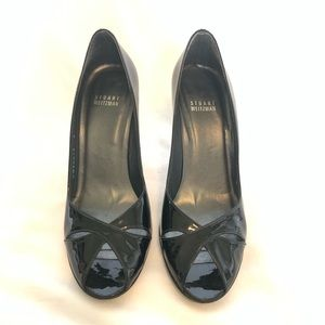 Stuart Weitzman Patent Leather Open Toed Heels